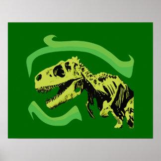 Tレックスの恐竜の骨組 ポスター