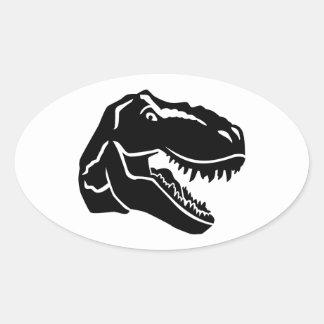 Tレックスの恐竜 楕円形シール