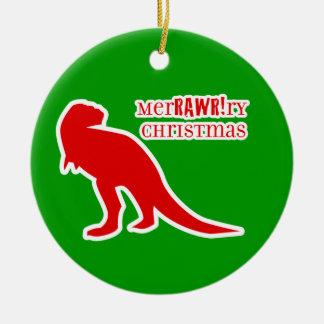 TレックスのMerRAWRryのクリスマス セラミックオーナメント