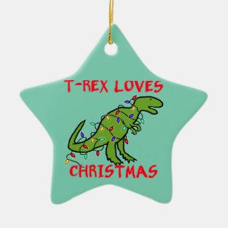 Tレックスはクリスマスを愛します セラミックオーナメント