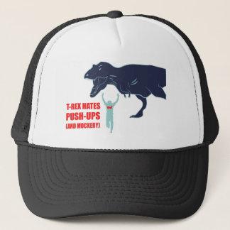 Tレックスはプッシュ・アップおよび嘲笑の帽子を憎みます キャップ