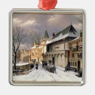 T31117冬のオランダの町の眺め メタルオーナメント