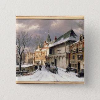 T31117冬のオランダの町の眺め 5.1CM 正方形バッジ