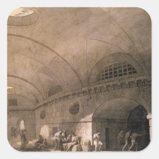 T31459刑務所場面1794年(ペン及びインクのchal洗浄 スクエアシール
