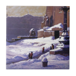 T.C. Steele著雪の記念碑 タイル