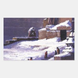 T.C. Steele著雪の記念碑 長方形シール