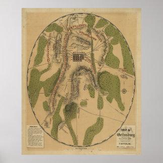 T. Ditterline著Gettysburg 1863の地図の分野 ポスター