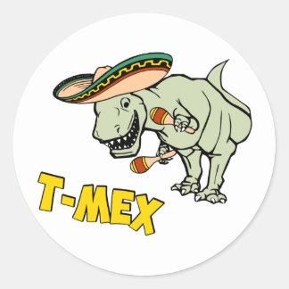 T-MexのTレックスのメキシコティラノサウルス・レックスの恐竜 ラウンドシール