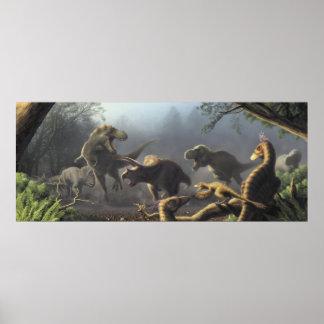 T.rexの狩り場面ポスター ポスター