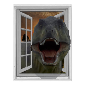 T-Rex Dinosaur 3D Picture Effect Fake Window ポスター