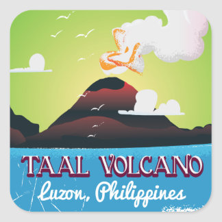 Taalの火山火山Philippのヴィンテージ旅行ポスター スクエアシール