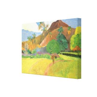 Tahitianの景色、山タヒチ、ポール・ゴーギャン キャンバスプリント