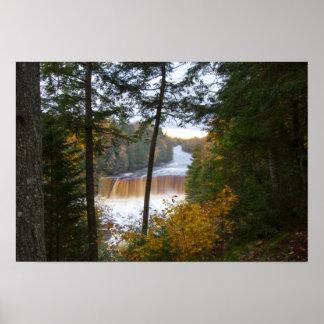 Tahquemenonの上部の滝、秋、ミシガン州 ポスター