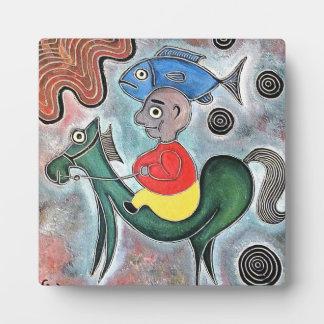 talby rafiによる小さい男の子の馬そして魚 フォトプラーク