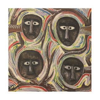 talby rafiによる4つの顔 ウッドウォールアート