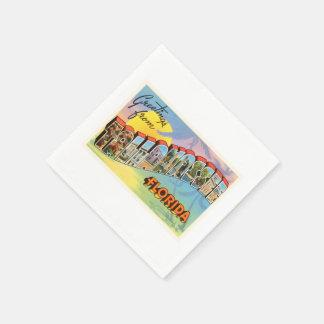 TallahasseeフロリダFLの古いヴィンテージ旅行記念品 スタンダードカクテルナプキン