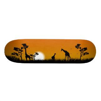 tallgrass、木およびキリンとのサバンナの日没 20cm スケートボードデッキ