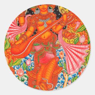 TANJOREを学ぶことのSARASWATIのヒンズー教の女神 ラウンドシール