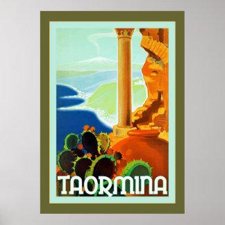 Taorminaの~のヴィンテージのイタリアンな旅行 ポスター