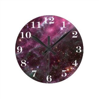 Tarantula Nebula in plum NASA ラウンド壁時計