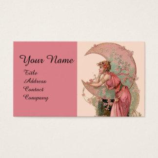 TAROTS/OF MOON WITH女性はピンクで開花します 名刺
