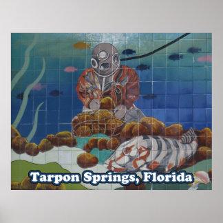 Tarpon Springsのスポンジのダイバーの壁画ポスター ポスター