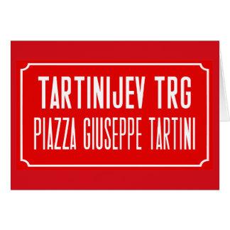 Tartiniスクエア、道路標識、Piran、スロベニア カード