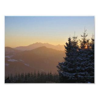 Tatras山の日没の眺め フォトプリント