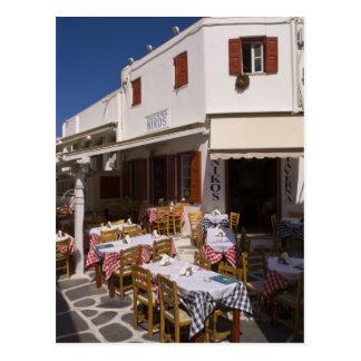 Tavernaニコス、Mykonosのキクラデス諸島の島、ギリシャ ポストカード