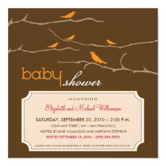 {TBA}さえずり! さえずり! ベビーシャワーの招待(オレンジ) 13.3 スクエアインビテーションカード