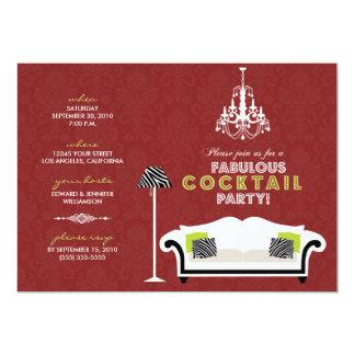 {TBA}シックなシマウマのカクテルのパーティの招待状(赤い) カード