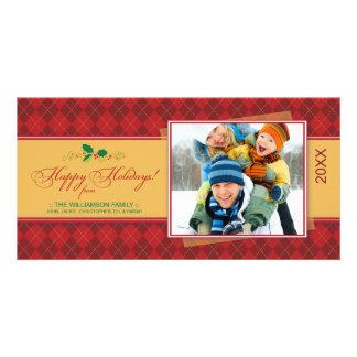 {TBA}冬のアーガイル柄ので幸せな休日のフォトカード(赤い) カード