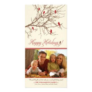 {TBA}冬の鳥の幸せな休日の写真カード カード
