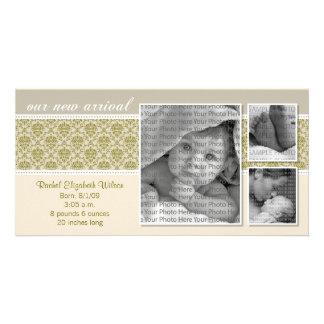 {TBA} 8x4暗灰色のバロック式の3写真の誕生の発表 カード