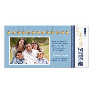 {TBA} Feliz Navidadの休日のフォトカード(青い) カード