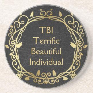 TBI Terrific Beautiful Individual Gold on Black コースター