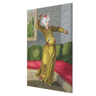 Tchingui、トルコのダンサー、18世紀(版木、銅版、版画) キャンバスプリント