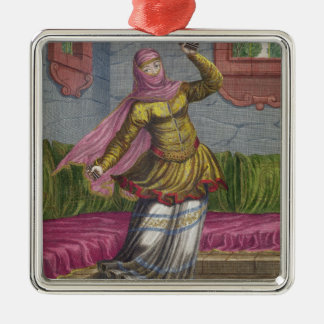 Tchinguis、かトルコのダンサー、18世紀(engrav シルバーカラー正方形オーナメント