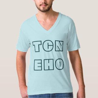 TCNEHO -淡いブルーのメンズVNeck Tシャツ