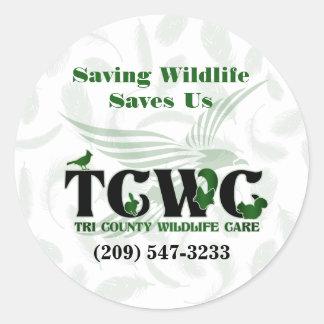 TCWC -ロゴのセービングの野性生物は私達にステッカーを救います ラウンドシール