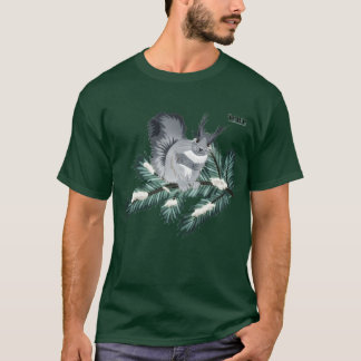 TCWC -冬のマツの灰色のリス Tシャツ