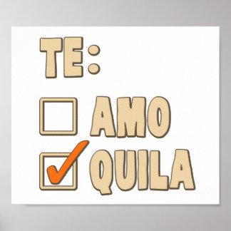 Te Amoのテキーラのスペイン人の選択 ポスター
