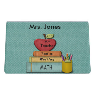 Teachers', Apple、本および鉛筆を個人化して下さい デスク名刺ホルダー