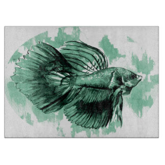 Teal Betta Fish Decorative Cutting Board カッティングボード