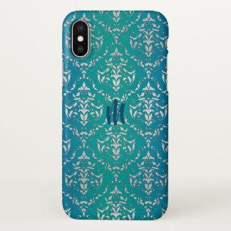 Teal Blue Green Damask Monogram iPhone X Case iPhone X ケース