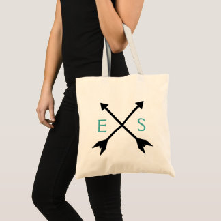 Teal Custom Initial Monogram Bag + Crossed Arrows トートバッグ