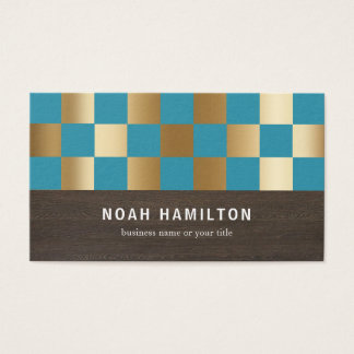 TEAL & GOLD CHECKED SQUARES | BUSINESS CARDS 名刺