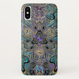 Teal Gold Purple Mandala Monogram iPhone X Case iPhone X ケース
