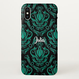 Teal Green and Black Damask iPhone X Case iPhone X ケース