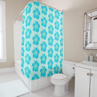 Teal Hawaiian Flower Shower Curtain シャワーカーテン